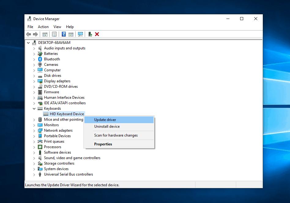Update driver pop-up
